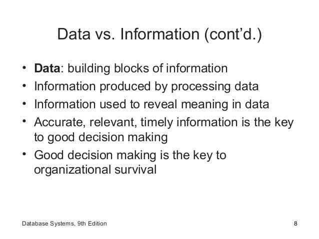 Data vs. Information (cont'd.) • Data: building blocks of information • Information produced by processing data • Informat...
