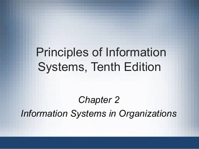 Principles of Information Systems, Tenth Edition Chapter 2 Information Systems in Organizations