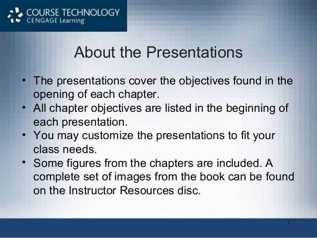 1• The presentations cover the objectives found in theopening of each chapter.• All chapter objectives are listed in the b...
