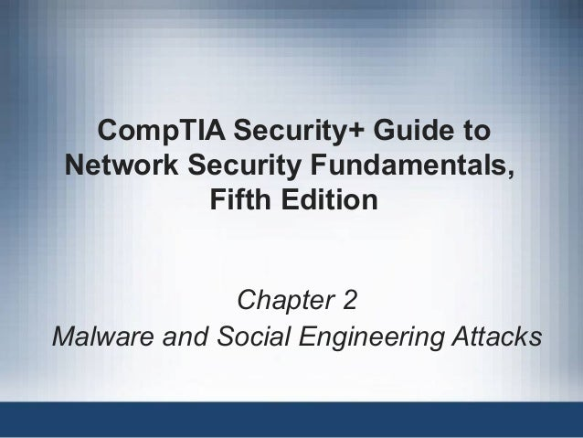 CompTIA Security+ Guide to Network Security Fundamentals, Fifth Edition Chapter 2 Malware and Social Engineering Attacks