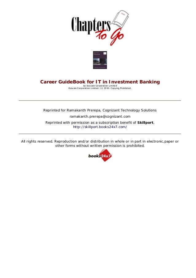 Career GuideBook for IT in Investment Banking                                         by Essvale Corporation L...