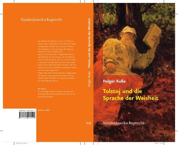Holger Kuße  Tolstoj und die Sprache der Weisheit   Vandenhoeck & Ruprecht