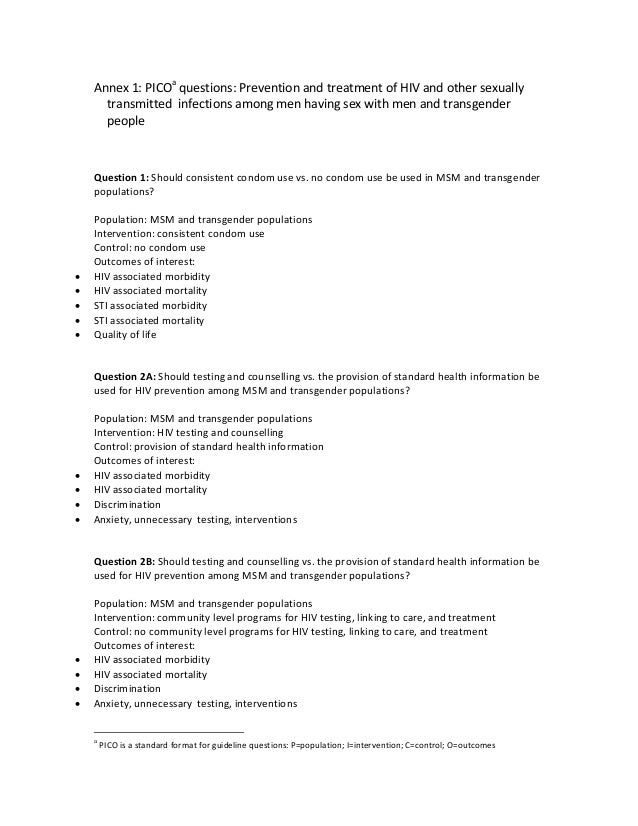 Annex1:PICOa questions:PreventionandtreatmentofHIVandothersexually transmittedinfectionsamongmenhavingse...