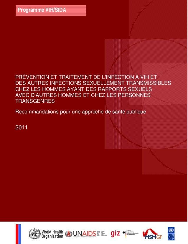 Programme VIH/SIDA PRÉVENTION ET TRAITEMENT DE L'INFECTION À VIH ET DES AUTRES INFECTIONS SEXUELLEMENT TRANSMISSIBLES CHEZ...