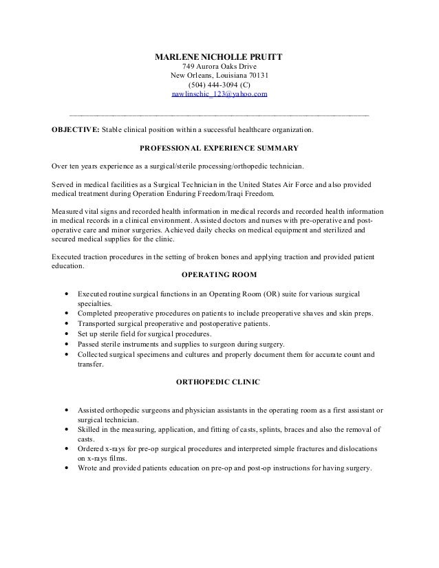 sterile processing resume sterile processing technician resume example