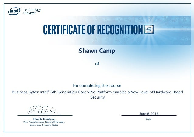 CERTIFICATEOFRECOGNITION for completing the course of Maurits Tichelman Vice President and General Manager, Direct and Cha...