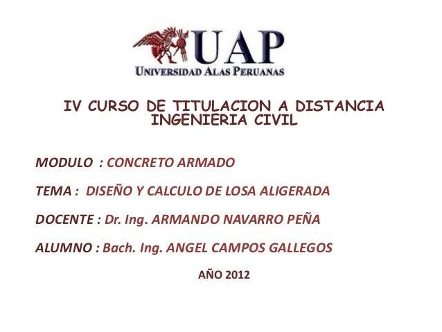 IV CURSO DE TITULACION A DISTANCIA INGENIERIA CIVIL MODULO : CONCRETO ARMADO TEMA : DISEÑO Y CALCULO DE LOSA ALIGERADA DOC...