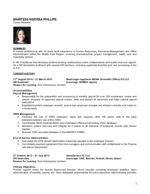 MARITESS NIVERBA PHILLIPS Career Resume SUMMARY A Mature Professional With  20 Years Work Experience In Human ...  Hr Generalist Resumes