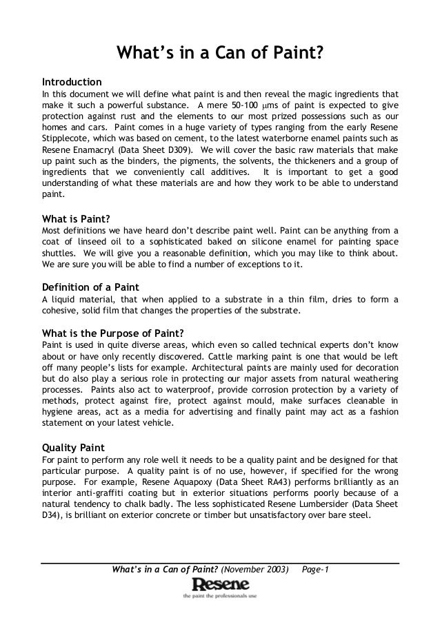 What's in a Can of Paint? (November 2003) Page-1 What's in a Can of Paint? Introduction In this document we will define wh...