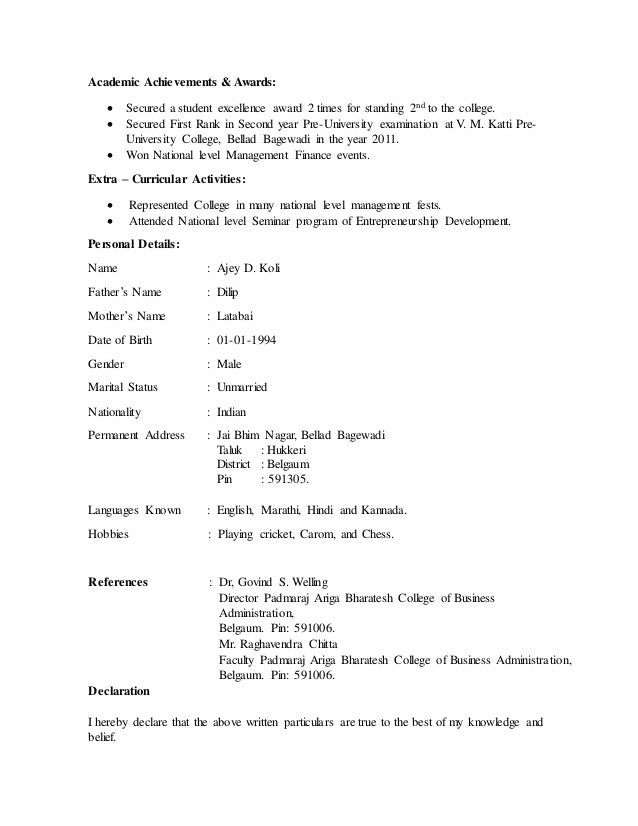first year college resumes resume of ajey for job - Sample Resume First Year University Student