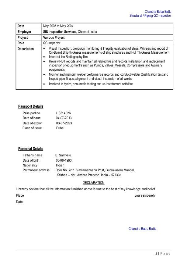 Structural Piping QC Inspector CV PDF – Structural Welder Job Description