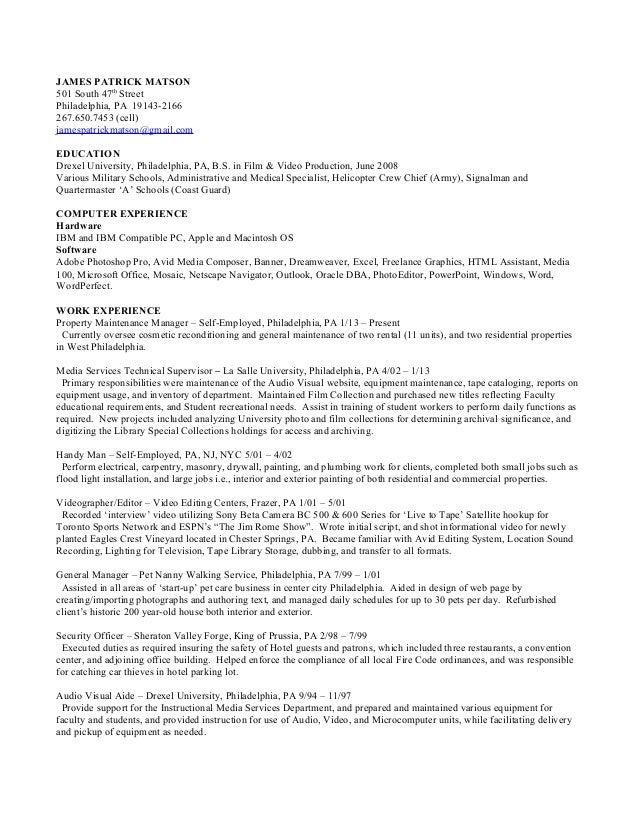 matson resume - Eagle Security Officer Sample Resume