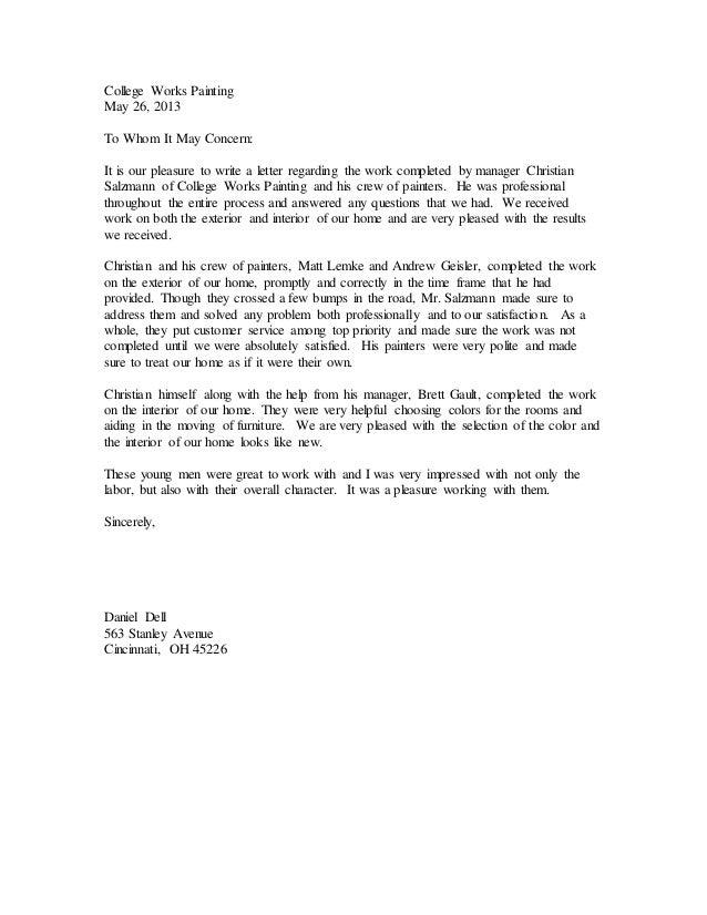 client recommendation letter