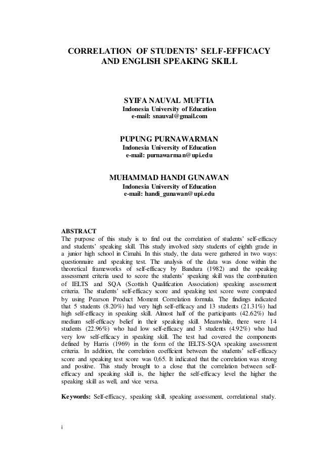 i CORRELATION OF STUDENTS' SELF-EFFICACY AND ENGLISH SPEAKING SKILL SYIFA NAUVAL MUFTIA Indonesia University of Education ...