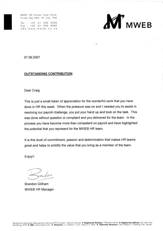 outstanding contribution letter