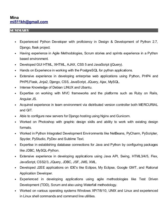 resume mina mi511khgmailcom summary experienced python developer with proficiency in design