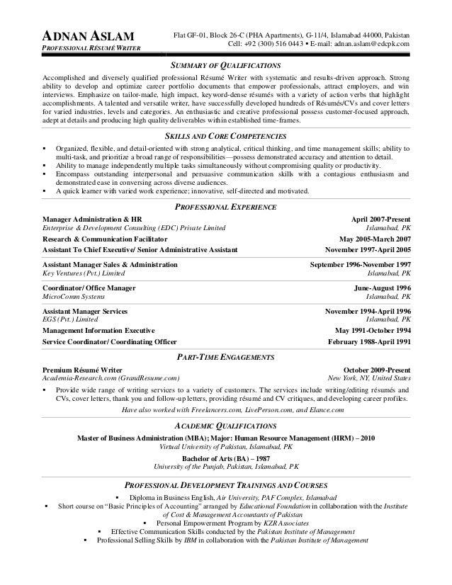 ADNAN ASLAM PROFESSIONAL RÉSUMÉ WRITER Flat GF 01, Block 26 C (PHA  Professional Resume Writers