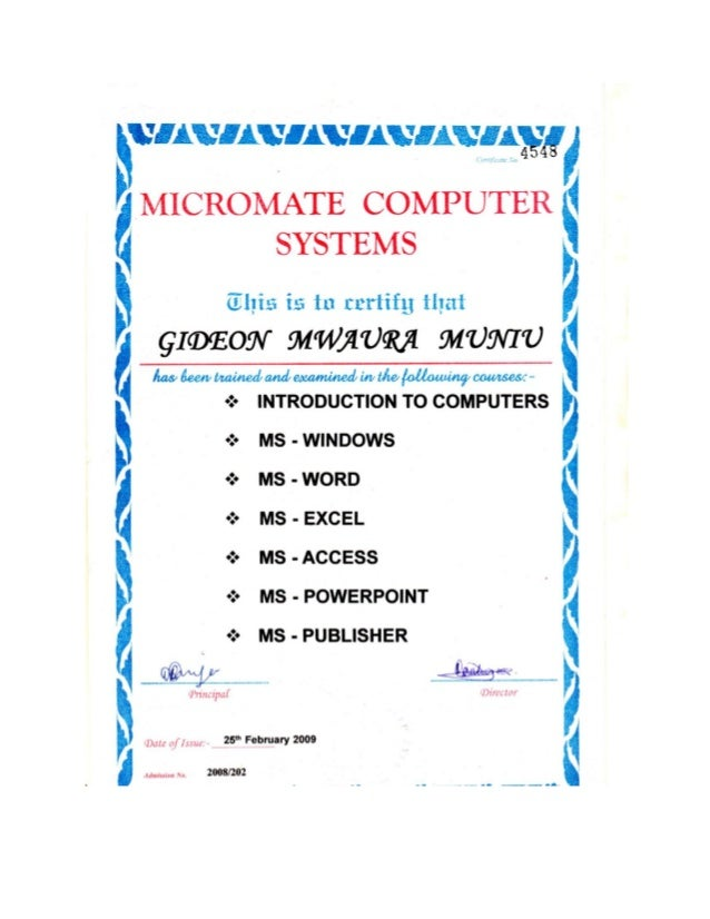computer packages  certificate