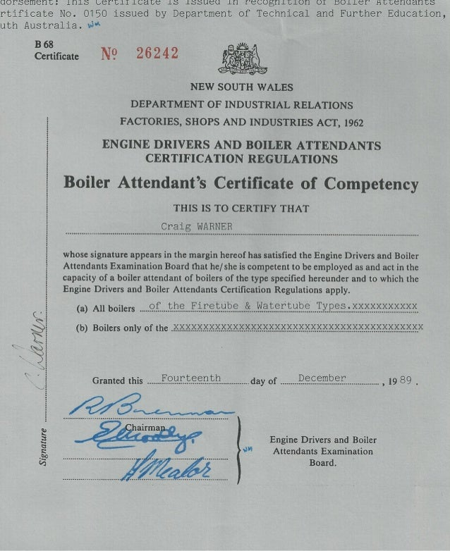 NSW Certificate of Competency as boiler attendant