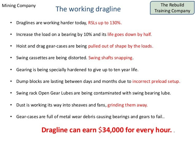 The Rebuild Training Company Mining Company The working dragline • Draglines are working harder today, RSLs up to 130%. • ...