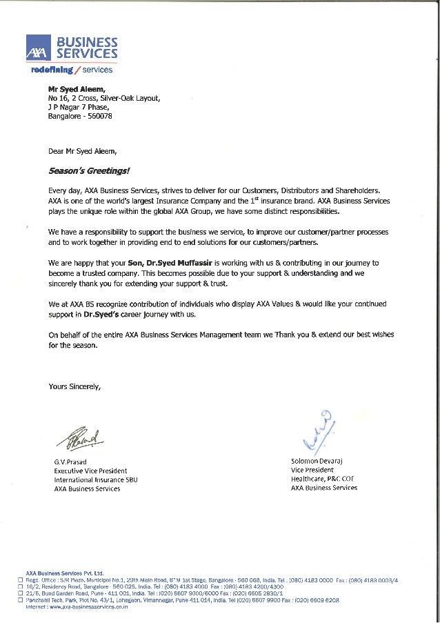 Axa Gulf Letter Of Appreciation