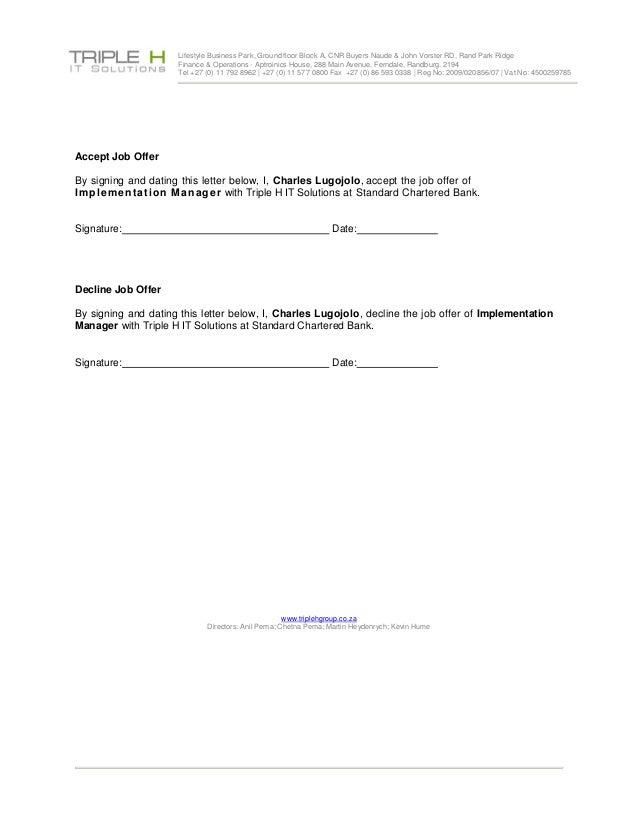 Job Offer Charles Lugojolo Implementation Manager