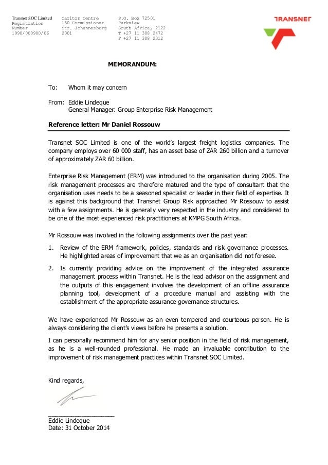 Transnet profile and reference letter