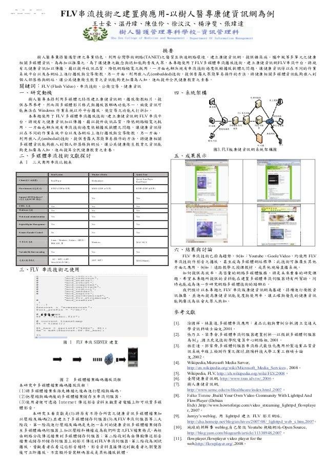 FLV串流技術之建置與應用-以樹人醫專康健資訊網為例         轉檔      儲存       播放        使用者介面  媒體來源    壓縮及編碼       串流伺服器    網路           播放器        ...