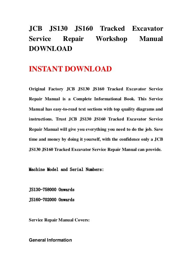 jcb js130 js160 tracked excavator service repair manual rh slideshare net JCB Fastrac Who Makes JCB Equipment