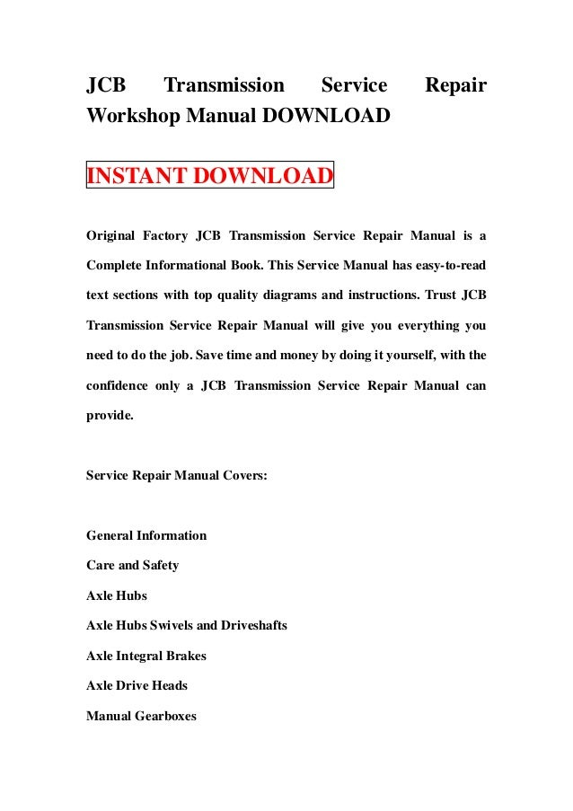 JCB Transmission Service Repair Workshop Manual DOWNLOAD