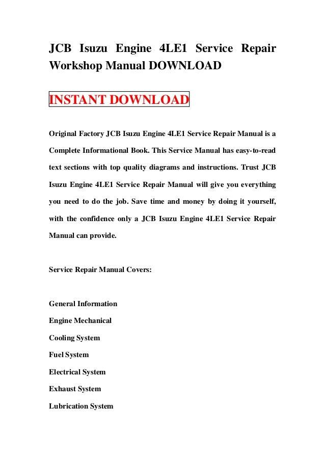 jcb isuzu engine 4le1 service repair workshop manual download rh slideshare net Isuzu C240 Engine Specifications Isuzu 4LE2 Engine Parts