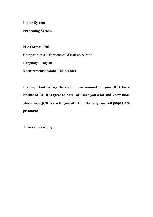 jcb isuzu engine 4le1 service repair workshop manual download. Black Bedroom Furniture Sets. Home Design Ideas
