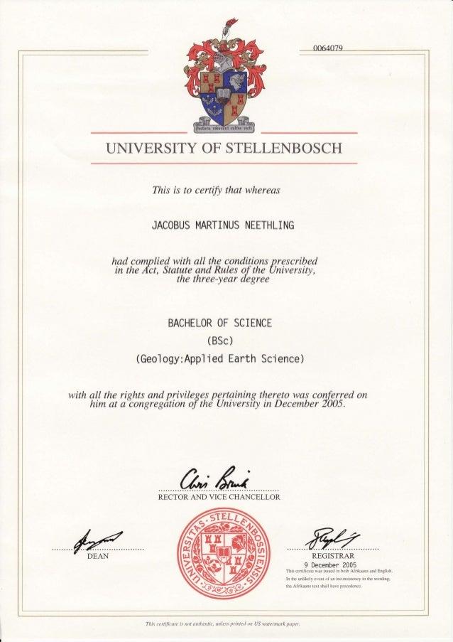 JM Neethling Degrees Bachelors Degree