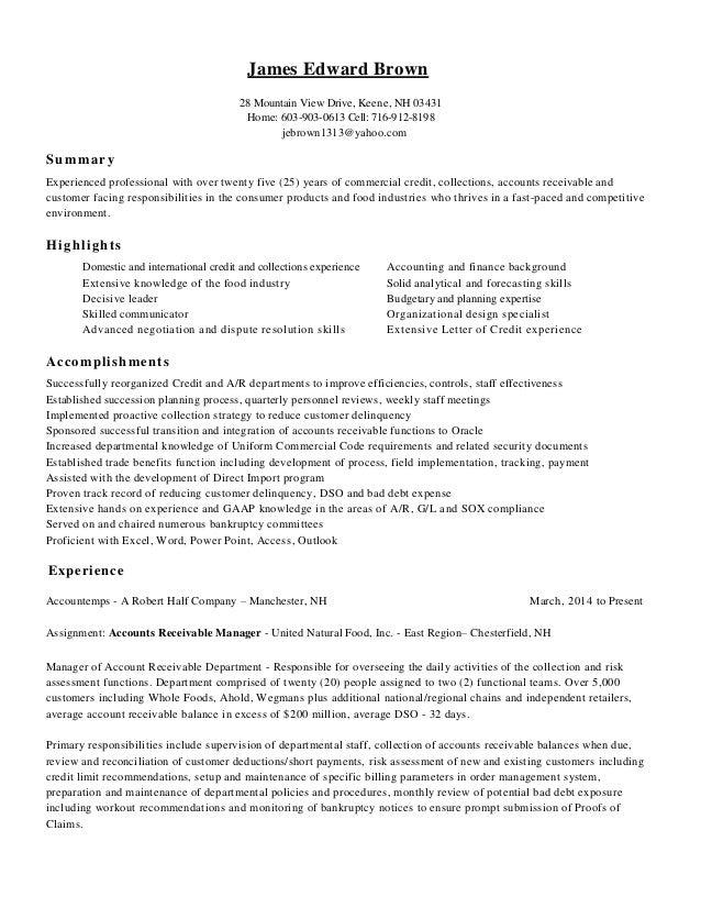 Resume - James E Brown Credit Professional