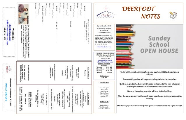 DEERFOOTDEERFOOTDEERFOOTDEERFOOT NOTESNOTESNOTESNOTES September 8, 2019 GreetersSeptember8,2019 IMPACTGROUP2 WELCOME TO TH...
