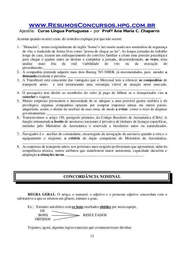 www.ResumosConcursos.hpg.com.br Apostila: Curso Língua Portuguesa – por Profª Ana Maria C. Chaparro 12 Acentue quando ocor...