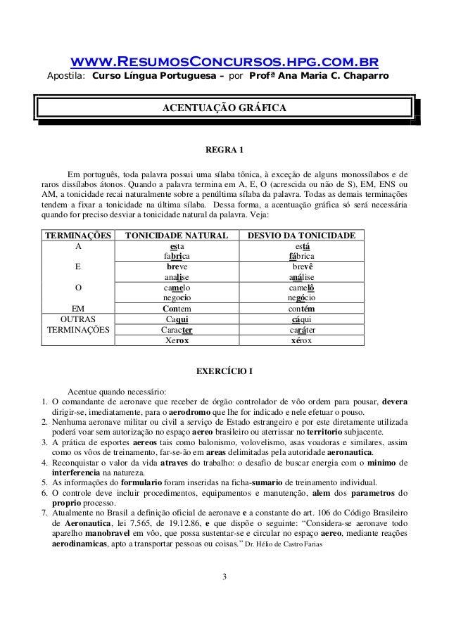 www.ResumosConcursos.hpg.com.br Apostila: Curso Língua Portuguesa – por Profª Ana Maria C. Chaparro 3 ACENTUAÇÃO GRÁFICA R...