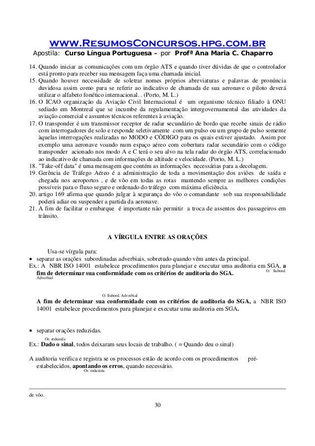 www.ResumosConcursos.hpg.com.br Apostila: Curso Língua Portuguesa – por Profª Ana Maria C. Chaparro 30 14. Quando iniciar ...