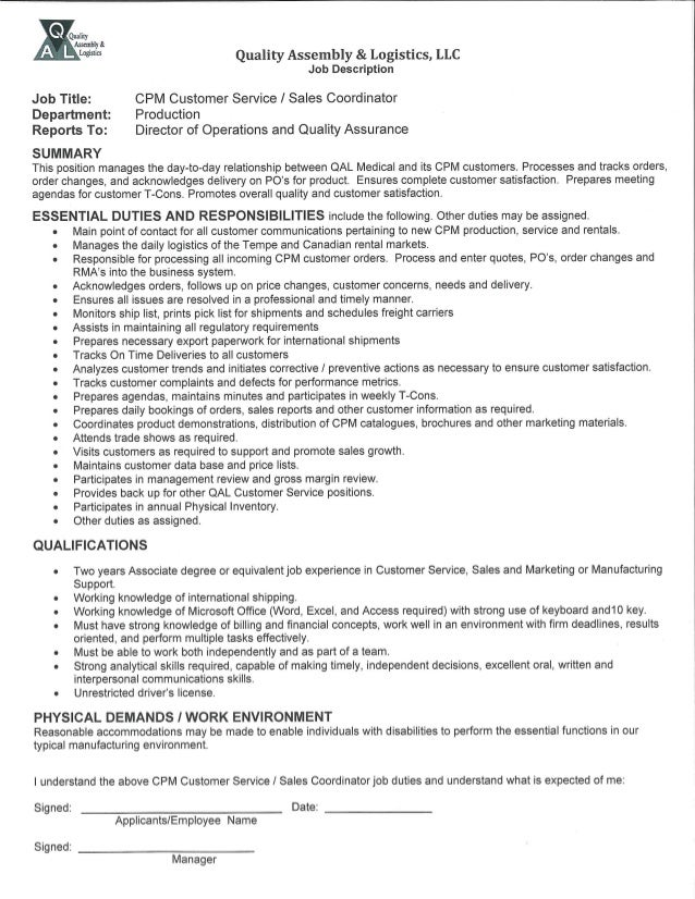 CPM Customer Service Sales Coordinator Job Description