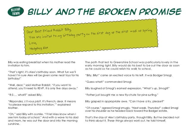 """Billy and the Broken Promise Billy was eating breakfast when his mother read the invitation to him. """"That's right, it's Al..."""