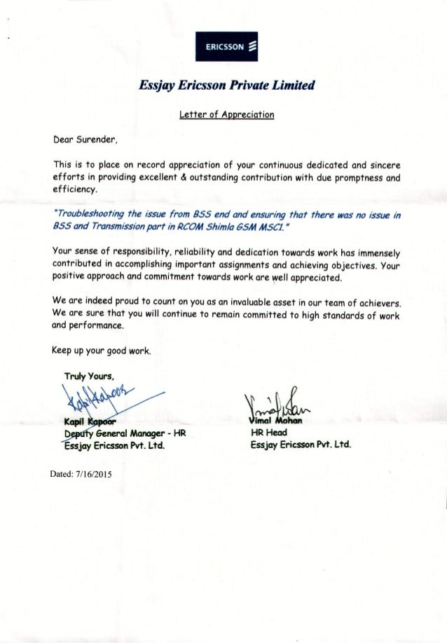 ERICSSON ~ Essjay Ericsson Private Limited Letter Of Appreciation Dear  Surender, This Is To Place