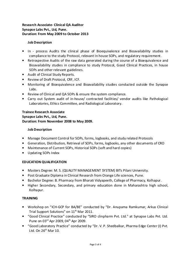 clinical research associate resume assistant project manager