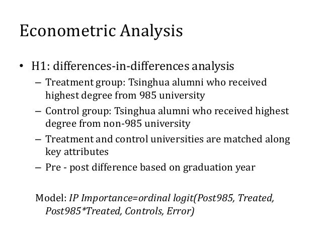 Econometric Analysis • H2: test direct effect of IP Importance on ln(R&D Intensity) • H3: test direct effects of ln(R&D In...