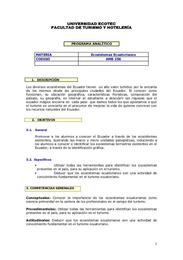 UNIVERSIDAD ECOTEC                   FACULTAD DE TURISMO Y HOTELERÍA                              PROGRAMA ANALÍTICO      ...