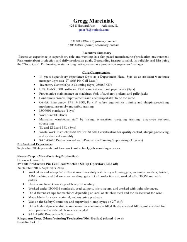 production supervisor resume production supervisor resume sample ...