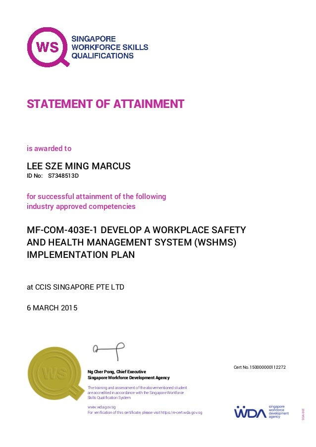 Certificate Bizsafe Level 4 Develop A Workplace Safety