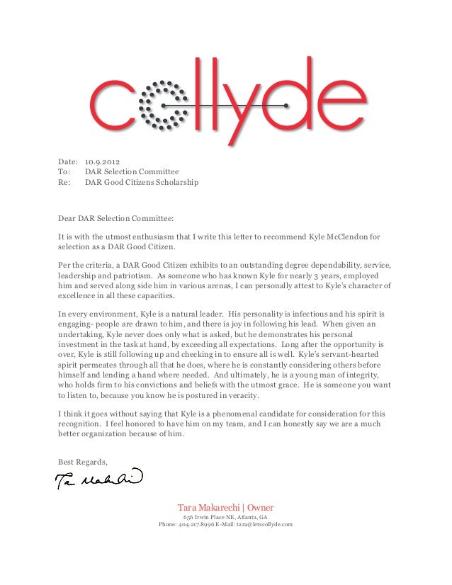 DAR Letter of Recommendation for Kyle McClendon2