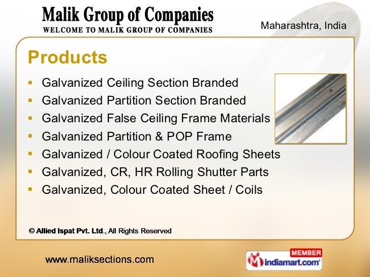 Products <ul><li>Galvanized Ceiling Section Branded </li></ul><ul><li>Galvanized Partition Section Branded </li></ul><ul><...