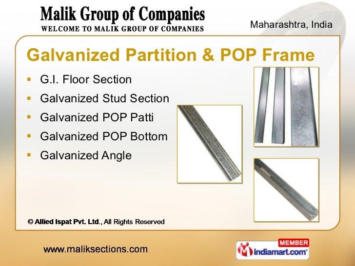 Galvanized Partition & POP Frame <ul><li>G.I. Floor Section </li></ul><ul><li>Galvanized Stud Section </li></ul><ul><li>Ga...