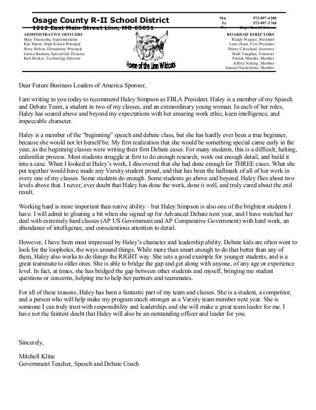recommendation letter for fbla